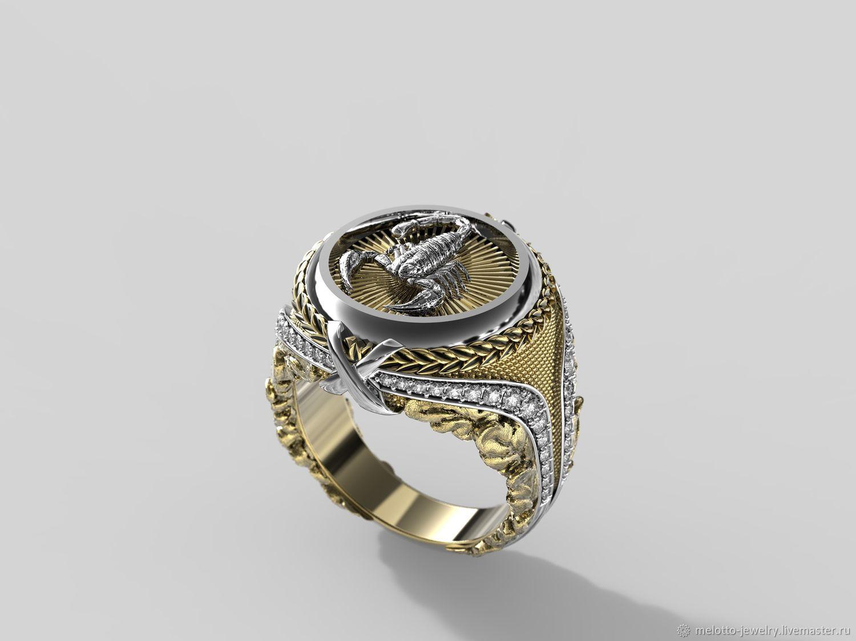 Перстень: Скорпион с бриллиантами – заказать на Ярмарке Мастеров – MHCD0RU   Перстень, Москва