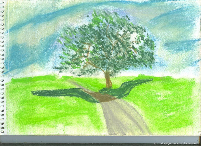 Пейзаж ручной работы. Ярмарка Мастеров - ручная работа. Купить Деревце. Handmade. Природа, дерево, сухая пастель, бумага для акварели