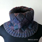 Аксессуары handmade. Livemaster - original item Blue knitted Snood tube scarf. Handmade.