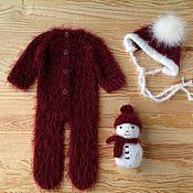Комплекты одежды ручной работы. Ярмарка Мастеров - ручная работа Комплект для фотосессии новорожденных слип и шапочка с помпоном. Handmade.