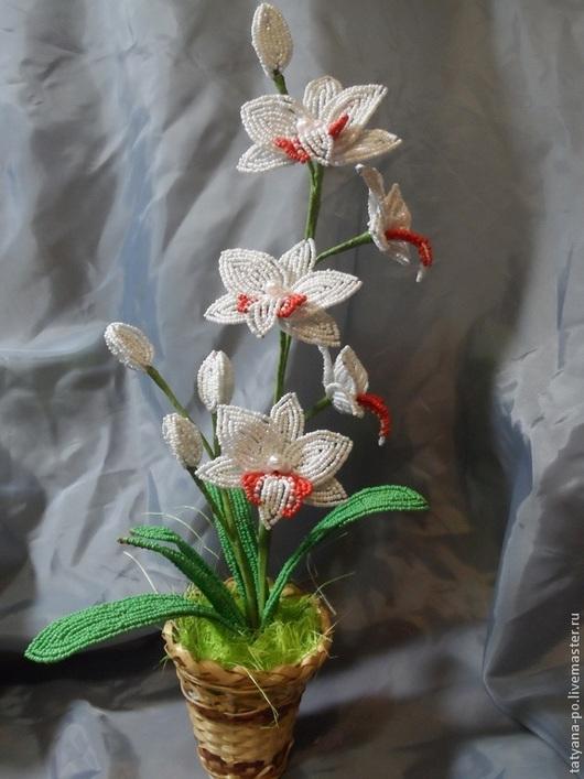 Цветы ручной работы. Ярмарка Мастеров - ручная работа. Купить Орхидея из бисера. Handmade. Разноцветный, бисер, цветы ручной работы