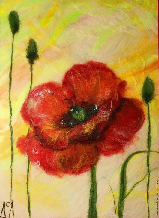 Картины цветов ручной работы. Ярмарка Мастеров - ручная работа. Купить Картина из шерсти Цветок любви. Handmade. Ярко-красный