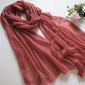 handmade. Livemaster - original item Stole scarf knitted from kid mohair coral-terracotta. Handmade.
