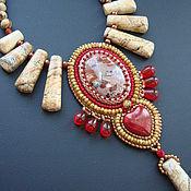 """Украшения ручной работы. Ярмарка Мастеров - ручная работа Колье """"Сердце Сахары"""" (вышивка бисером). Handmade."""