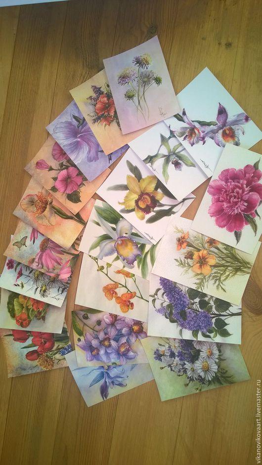 """Открытки на все случаи жизни ручной работы. Ярмарка Мастеров - ручная работа. Купить набор почтовых открыток для посткроссинга """"Цветы"""". Handmade."""