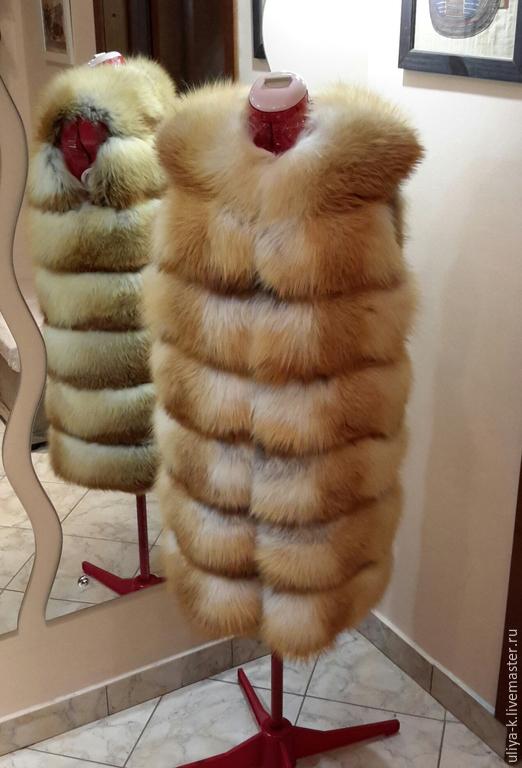 Жилеты ручной работы. Ярмарка Мастеров - ручная работа. Купить Жилет из лисы. Handmade. Золотой, меховые изделия, одежда