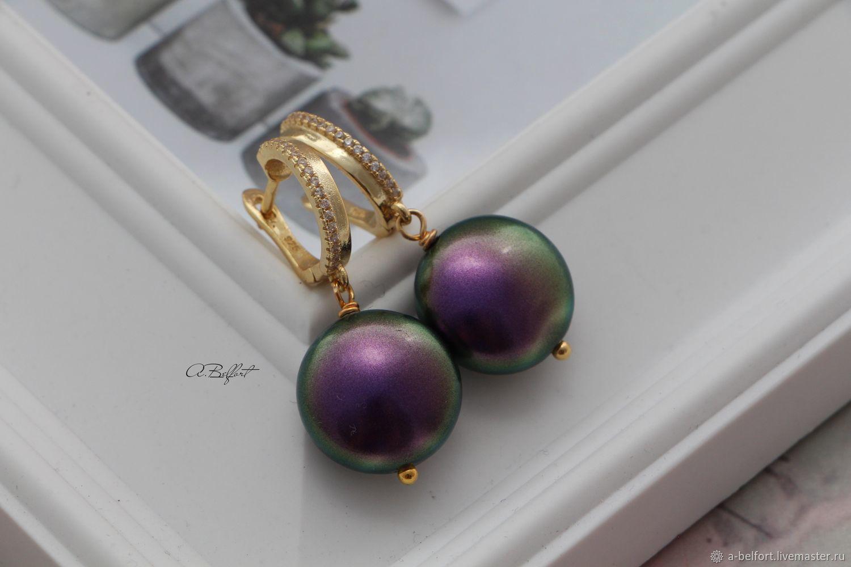 Gold plated earrings with Swarovski 'Purple peacock', Earrings, Omsk,  Фото №1