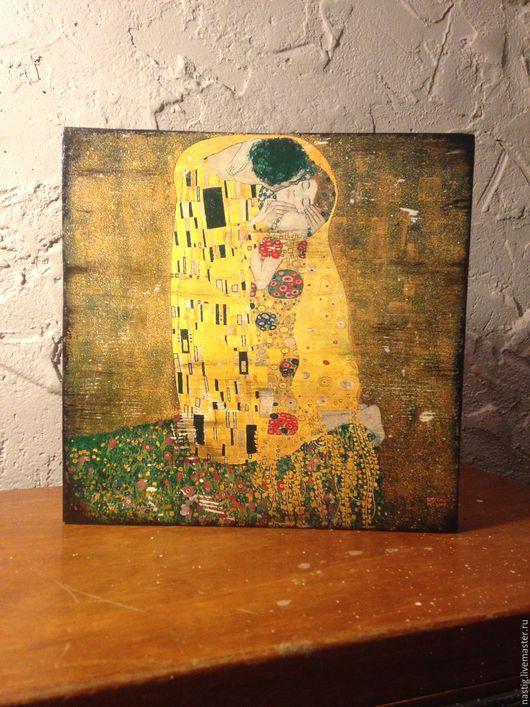 """Репродукции ручной работы. Ярмарка Мастеров - ручная работа. Купить Интерьерное деревянное панно, лофт, Густав Климт """"Поцелуй"""". Handmade."""