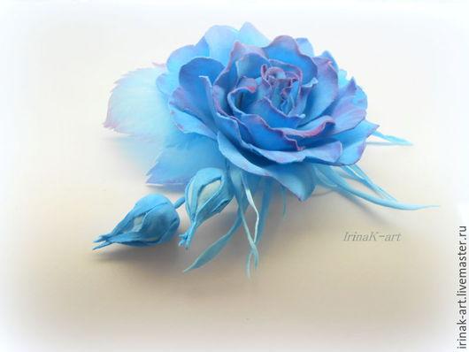 Цветы ручной работы. Ярмарка Мастеров - ручная работа. Купить В синих лучах. Роза брошь-зажим из фоамирана.. Handmade.