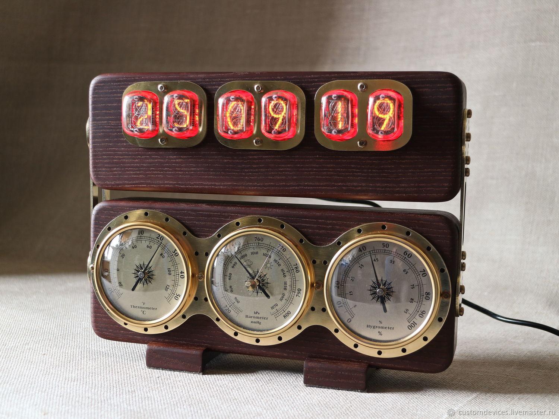 """Ламповые часы""""Метеостанция ИН-12""""(термоясень,латунь)+коробка, Часы ламповые, Москва,  Фото №1"""