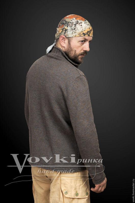 Для мужчин, ручной работы. Ярмарка Мастеров - ручная работа. Купить Мужской жакет спицами из мериносовой шерсти. Handmade. Серый