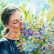 Картины и панно handmade. Livemaster - original item Watercolor painting the Smell of summer. Order such a portrait.. Handmade.