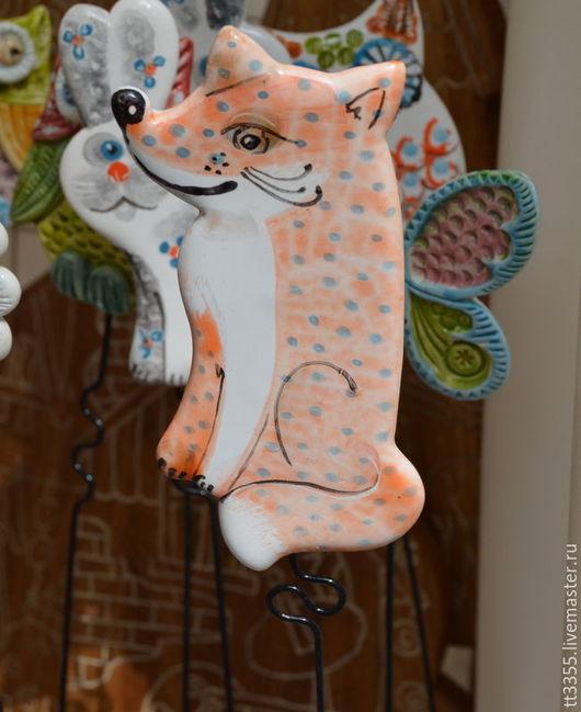Украшения для цветов ручной работы. Ярмарка Мастеров - ручная работа. Купить лисичка втыкалка в цветок и в грядку. Handmade. Бежевый, уют