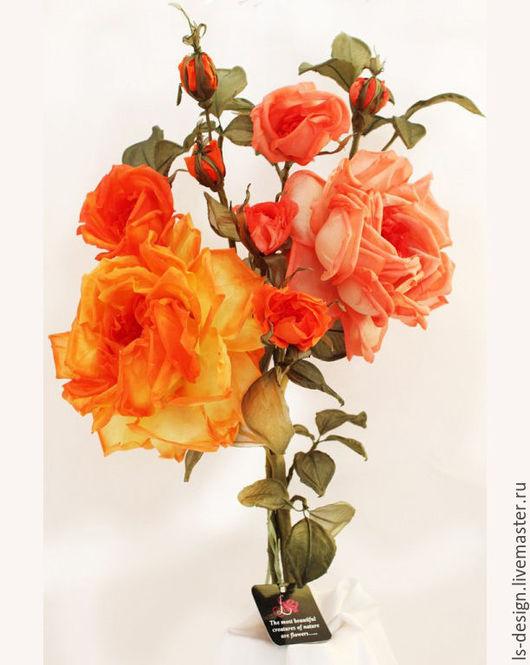Интерьерные композиции ручной работы. Ярмарка Мастеров - ручная работа. Купить Букет из шелковых роз. Handmade. Оранжевый, интерьерный букет