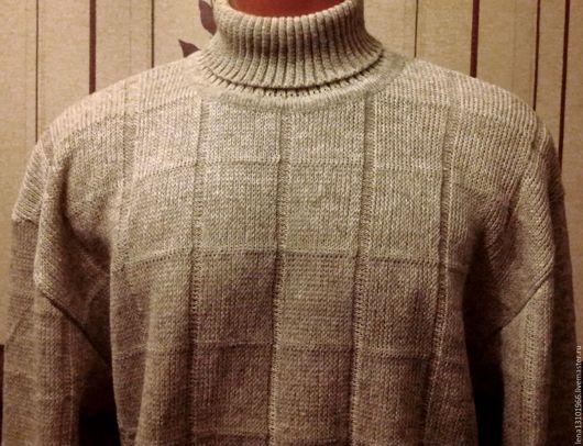 """Для мужчин, ручной работы. Ярмарка Мастеров - ручная работа. Купить 100%лён Мужской свитер """"КЛЕТКА"""". Handmade. Свитер вязаный"""