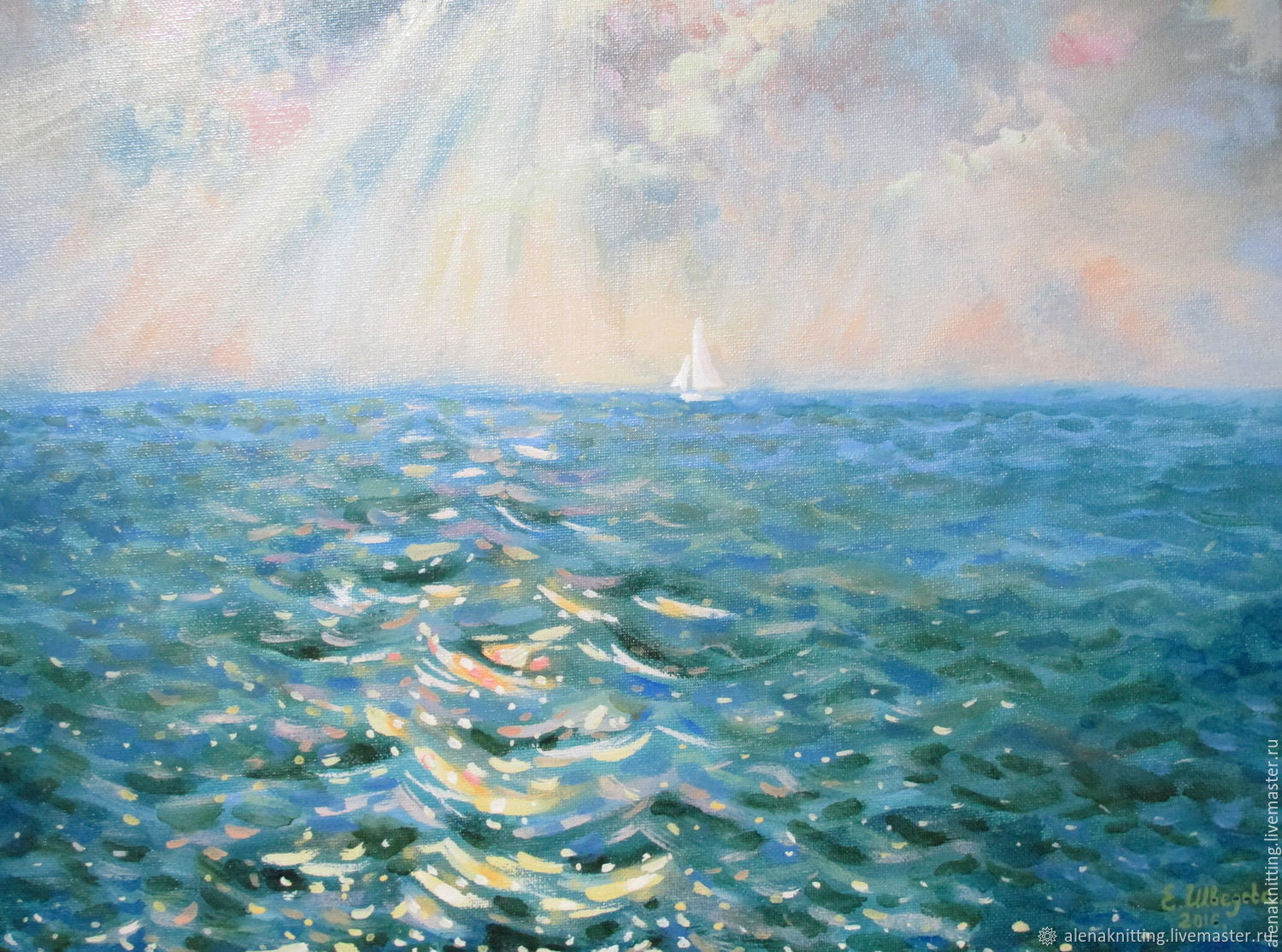 Oil painting 'the White sail', Pictures, Moscow,  Фото №1