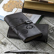 handmade. Livemaster - original item Brown leather notebook with a map with crafting notebooks. Handmade.