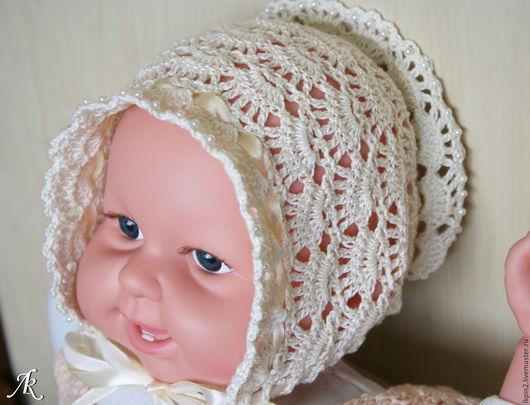 Для новорожденных, ручной работы. Ярмарка Мастеров - ручная работа. Купить Чепчик для новорожденной. Handmade. Бежевый, для новорожденных, для фотосессии малышей