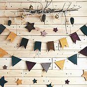 Подвески ручной работы. Ярмарка Мастеров - ручная работа Деревянные флажки и звезды. Handmade.