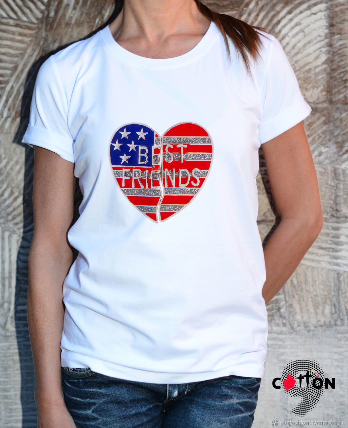 Cotton t-shirt with 'Best Friends' print - TEE10064CT, T-shirts, Sofia,  Фото №1