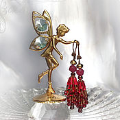 Украшения handmade. Livemaster - original item Bunch earrings, summer red Nature drops. ruby, garnet, gold beads. Handmade.