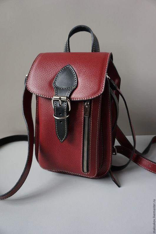 Женские сумки ручной работы. Ярмарка Мастеров - ручная работа. Купить Сумка-рюкзак. Handmade. Брусничный, натуральная кожа