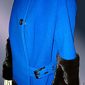 Одежда handmade. Livemaster - original item Blue coat with mink fur