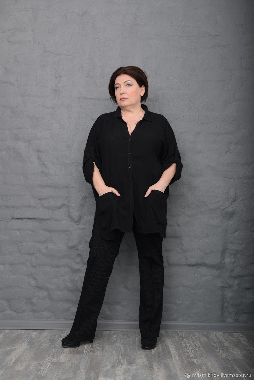 Shirt-blouse video black with 2 pockets and collar. Art. 2348, Shirts, Kirov,  Фото №1