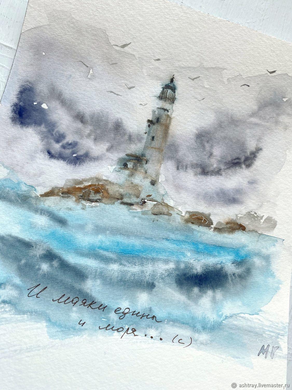 """""""И маяки едины и моря"""" акварель (море, маяк, пейзаж), Картины, Корсаков,  Фото №1"""