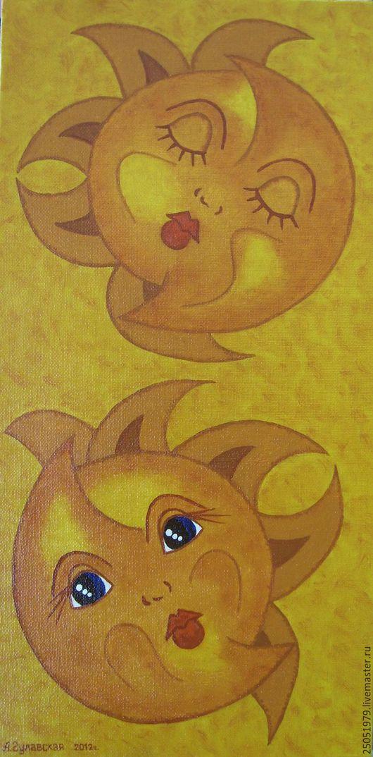 Символизм ручной работы. Ярмарка Мастеров - ручная работа. Купить День и ночь. Handmade. Желтый, день, ночь, губы, Глаза