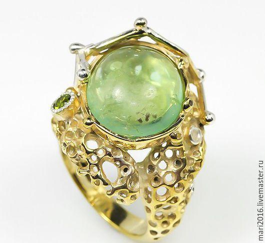 """Кольца ручной работы. Ярмарка Мастеров - ручная работа. Купить Роскошное кольцо """" Дэлина """" с флюоритом, серебро 925 пробы, позолота. Handmade."""