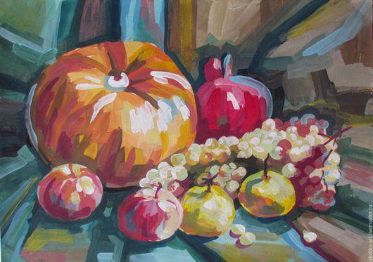 Натюрморт ручной работы. Ярмарка Мастеров - ручная работа. Купить Сочные фрукты.. Handmade. Комбинированный, оранжевый, желтый, картина в раме