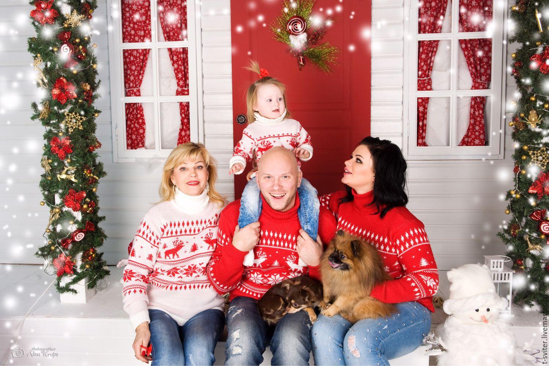 Тату-свитер - С оленями и ёлочками  (для всей семьи)