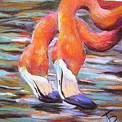 Картины и панно handmade. Livemaster - original item Children sunset Painting with pastels (Flamingo, orange, green). Handmade.