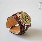Украшения ручной работы. Ярмарка Мастеров - ручная работа Кожаный браслет с часами в стиле стимпанк Медные трубы. Handmade.
