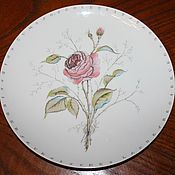 Винтаж handmade. Livemaster - original item Charming plate with a rose, hand painted, botany, Germany. Handmade.