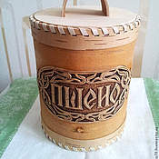 Jars handmade. Livemaster - original item Box of birch bark for storage of wheat. Packaging for cereals. Handmade.