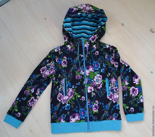 Одежда для девочек, ручной работы. Ярмарка Мастеров - ручная работа. Купить Прохладное лето. Handmade. Разноцветный, девочка, трикотаж, бусины