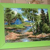 Картины и панно ручной работы. Ярмарка Мастеров - ручная работа Летний домик в лесу. Handmade.