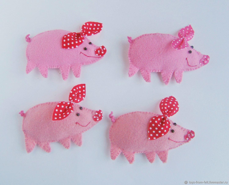Свинка - магнитик из фетра символ 2019 года, новогодний сувенир, Магниты, Смоленск,  Фото №1