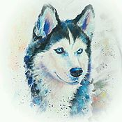 "Одежда handmade. Livemaster - original item ""Husky Lady"", acrylic on t-shirt. Handmade."