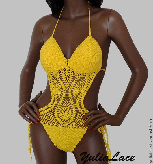 Слитные купальники ручной работы. Ярмарка Мастеров - ручная работа. Купить Вязаный купальник. Handmade. Желтый, пляжная мода