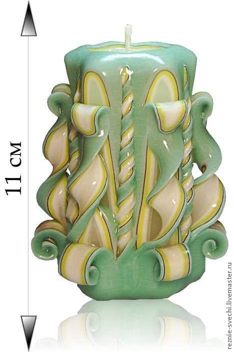 Свечи ручной работы. Ярмарка Мастеров - ручная работа. Купить Резная свеча Филадельфия желто-черно-зеленая. Handmade. Салатовый