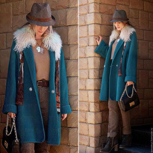 Верхняя одежда ручной работы. Ярмарка Мастеров - ручная работа. Купить Пальто вязаное. Handmade. Тёмно-бирюзовый, пальто вязаное