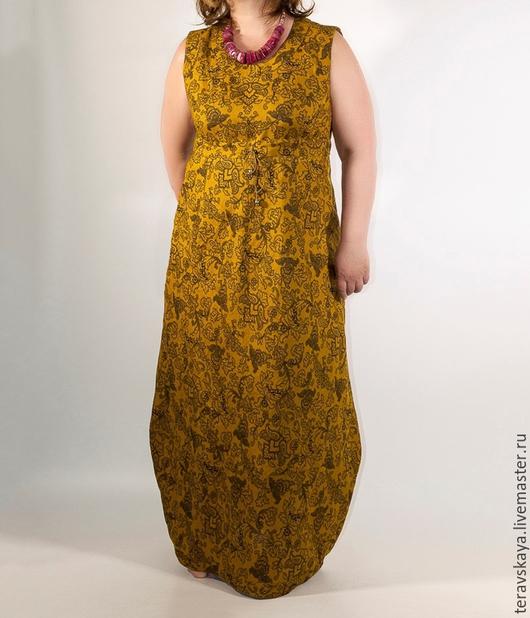 Юбки ручной работы. Ярмарка Мастеров - ручная работа. Купить Платье-сарафан Горчица. Handmade. Пышная юбка, строгая юбка
