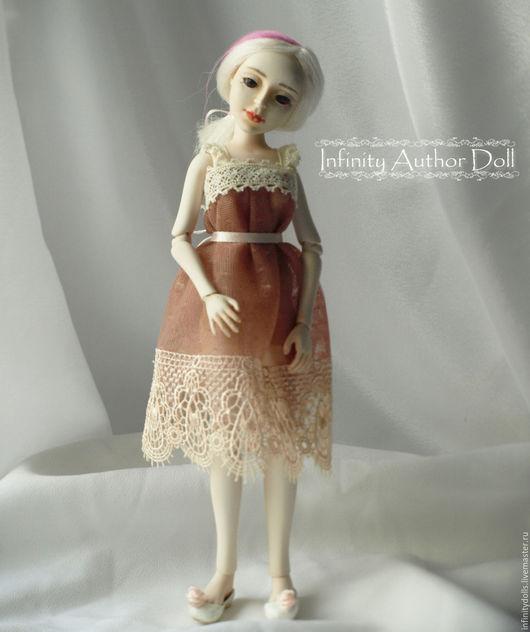Шарнирная авторская кукла, кукла шарнирная, шарнирная кукла, бжд кукла, кукла бжд, подвижная кукла, кукла подвижная, кукла в бежевом платье, full set, bjd doll, doll bjd, bjd кукла, кукла bjd, кукла