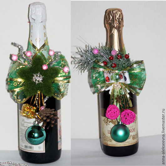Подарочное оформление бутылок ручной работы. Ярмарка Мастеров - ручная работа. Купить Украшение на подарочную новогоднюю бутылку. Handmade. Комбинированный