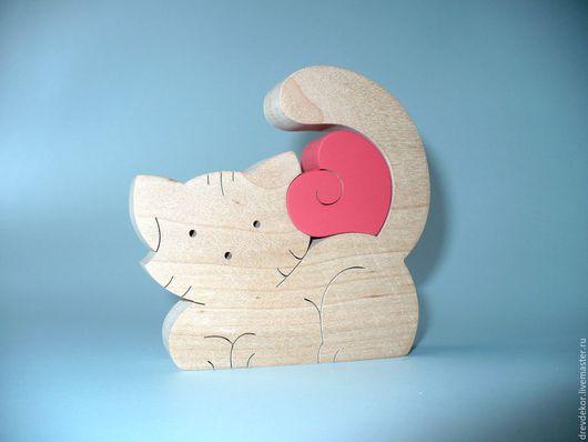 Развивающие игрушки ручной работы. Ярмарка Мастеров - ручная работа. Купить Пазл сувенир котенок с сердечком. Handmade. Ярко-красный