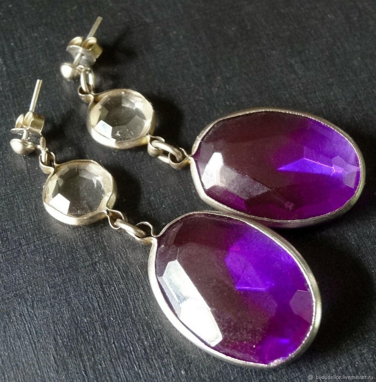 Long bezel-framed earrings, Vintage earrings, St. Petersburg,  Фото №1