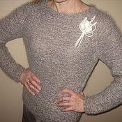 Одежда ручной работы. Ярмарка Мастеров - ручная работа пуловер бежевый меланж. Handmade.